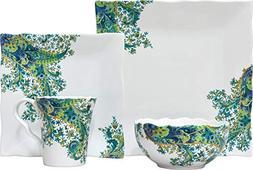 222 Fifth Surya 16 Piece Porcelain Dinnerware Set with Squar