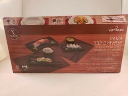 sushi serving set black 7 piece melamine
