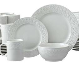 Pfaltzgraff Sylvia 32 Piece Embossed White Dinnerware Set Se
