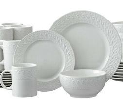 Pfaltzgraff Sylvia 32 Piece Embossed White Porcelain Dinnerw