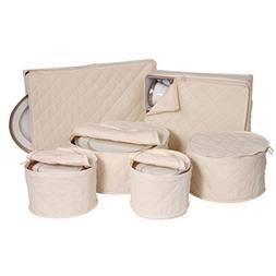 6 Piece Tabletop Polyester Dinnerware Storage Set