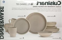 Cuisinart Tan Rim Stoneware 16 Pc Dinnerware Set
