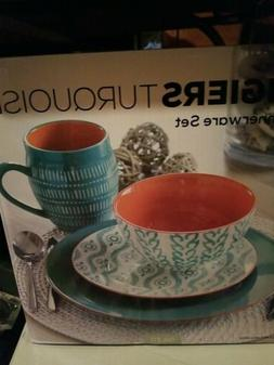 Baum Bros.® Tangiers 16pc Dinnerware Set Turquoise