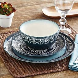 Better Homes and Gardens Teal Medallion 12-Piece Dinnerware