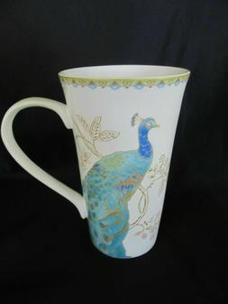 222 Fifth Teal Peacock Garden Coffee Latte Tall Mugs Set of