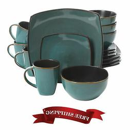 Kitchen Dishes Dinnerware Set Teal Plate Modern Dining Cup B