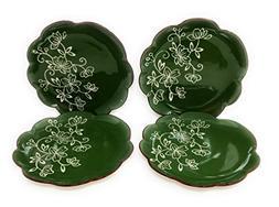 Temp-tations Set of 4 Hand Painted Stoneware Salad/Dessert P