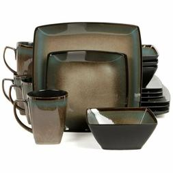 Gibson Elite Tequesta 16 Piece Square Dinnerware Set Taupe