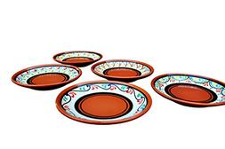 SMALL, Terracotta White Tapa Plates Set of 5 - Hand Painted