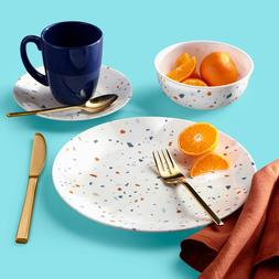 Terrazzo Pattern Dinnerware Set 16pc Kitchen Dining Plate Bo