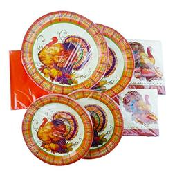 Thanksgiving Turkey Disposable Dinnerware Set Serves for 20