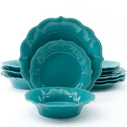 The Pioneer Woman Paige 12-Piece Dinnerware, 2 Plate Sizes,