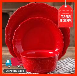 The Pioneer Woman Cowgirl Lace 12-Piece Dinnerware Set, Red