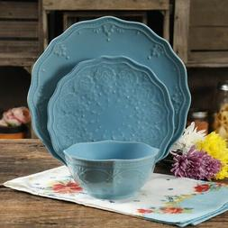 The Pioneer Woman Farmhouse Lace 12-Piece Dinnerware Set Blu