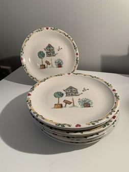 "THOMPSON POTTERY Birdhouse 10"" Dinner Plates Set of 9"