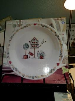 "Thompson Pottery Birdhouse 11"" Pie Dish"