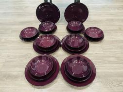 Thompson Pottery Purple Dinnerware Set -  Dinner & Salad Pla