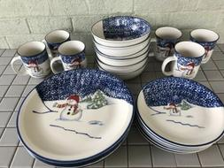 Thompson pottery Snowman Ice Skating Service For 6.  Excelle