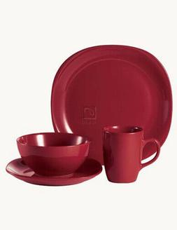 Thomson Pottery Quadro Red 16 PC Dinnerware Set Service For