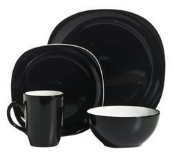 Thomson Pottery Duo Quadro Black 16 pc Dinnerware Set Servic
