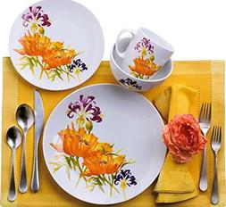 Euro Ceramica Tiger Lilly Collection 16 Piece Porcelain Dinn