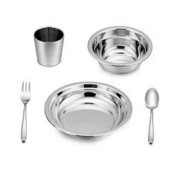 LIANYU 5-Piece Toddler Kids Dinnerware Set, Stainless Steel
