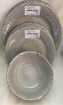 Tommy Bahama 100% Melamine 12- Piece Dinner Set  RUSTIC TAUP