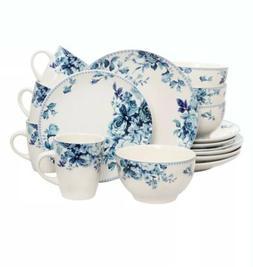 Elama Traditional Blue Rose 16-Pc Stoneware Dinnerware Dish