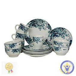 ELAMA TRADITIONAL BLUE ROSE 16 PIECE STONEWARE DISH DINNERWA
