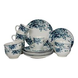 NEW Elama Traditional Blue Rose 16 Piece Dinnerware EL-BLUE-