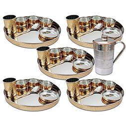 Set of 5, Indian Dinnerware Stainless Steel Copper Tradition
