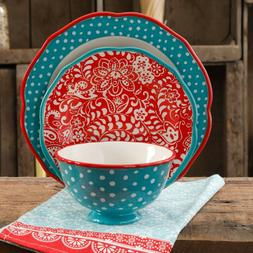 Traveling Vines Dinnerware Set Vibrant and Colorful Look 12-