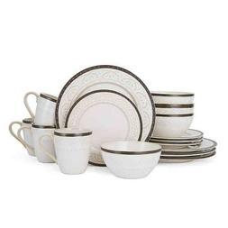 Pfaltzgraff Trellis White 16-Piece Dinnerware Set  Service f