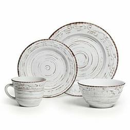 Pfaltzgraff Trellis White 16-Piece Stoneware Dinnerware Set,