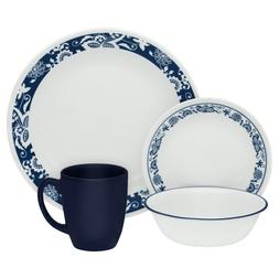 True Blue 16-Piece Dinnerware Set - Chip Resistant Glass, Se