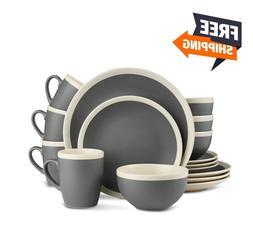 Stone Lain Two-Tone 32-Piece Stoneware Dinnerware Set Servic
