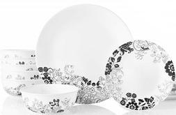 Corelle Uptown Garden 18-piece Black & White Dinnerware Set