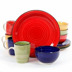 Gibson Home Color Vibes 12 Piece Round Dinnerware Set, Assor
