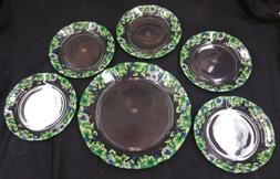 Vibrant Green Clear Scalloped Glass Serving Plate 6pc set Fl