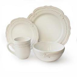 American Atelier 16 Piece Victoria Round Dinnerware Set, Whi
