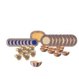 Pfaltzgraff Villa Della Luna Blue 34 Piece Dinnerware Set wi