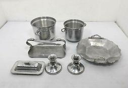 Vintage Aluminum Serving Dining Entertainment Table Setting