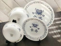 "Vintage Corelle ""Blue Hearts"" Dinnerware Set by Corning Ware"