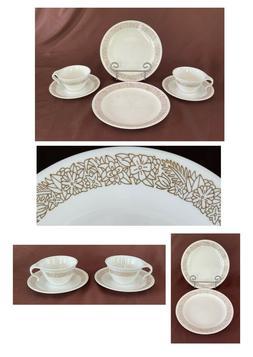 VINTAGE Corelle Dinnerware Set WOODLAND BROWN 6-Piece Set