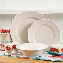 The Pioneer Woman Vintage Ruffle Linen 20-Piece Dinnerware S