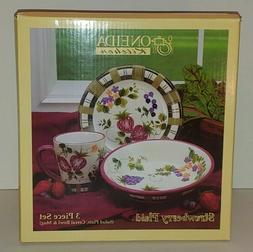 "Vintage ONEIDA ""Strawberry Plaid"" 3 piece set"