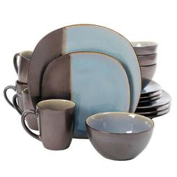 Gibson Volterra 16 piece Soft Square Dinnerware Set in Teal