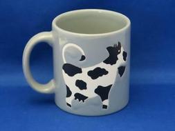 Vtg Waechtersbach Black & White COW Coffee Mug Gray West Ger