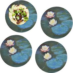 Water Lilies #2 Set of 4 Glass Lunch/Dinner Plate 10""