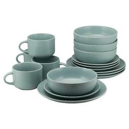 10 Strawberry Street Wazee Matte 16 Pc Coupe Dinnerware Set,